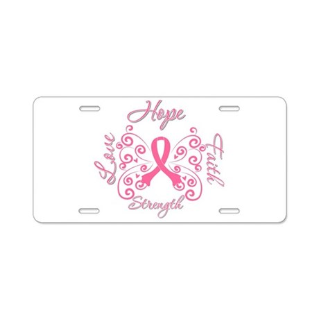 Breast Cancer Butterfly Hope Aluminum License Plat