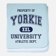 Yorkie University baby blanket