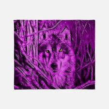 Pink Night Warrior Wolf Throw Blanket