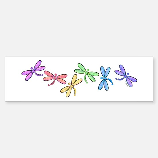 Rainbow Dragonflies Bumper Bumper Bumper Sticker