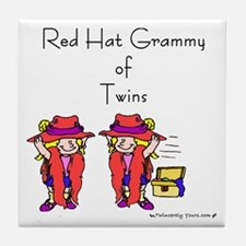 Red_Hat_Grammy_Twins Tile Coaster