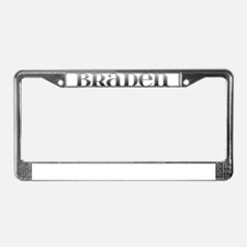 Braden Carved Metal License Plate Frame