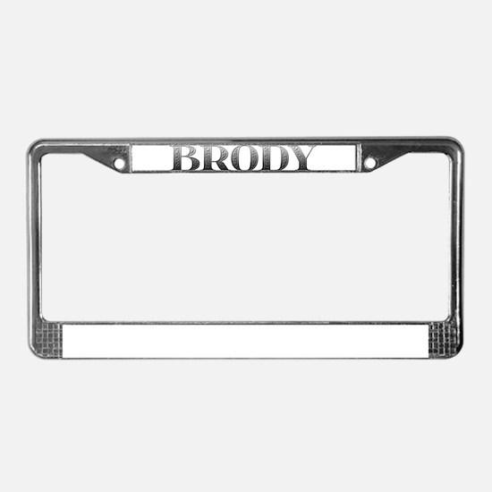 Brody Carved Metal License Plate Frame