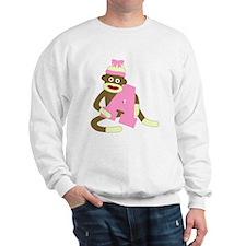 Sock Monkey Monogram Girl A Sweatshirt