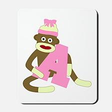 Sock Monkey Monogram Girl A Mousepad