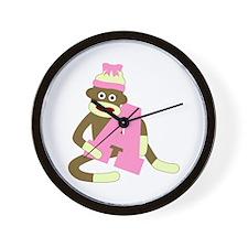 Sock Monkey Monogram Girl A Wall Clock