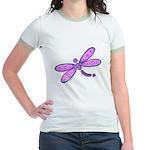 Pink and Lavender Dragonfly Jr. Ringer T-Shirt