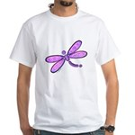 Pink and Lavender Dragonfly White T-Shirt