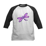 Pink and Lavender Dragonfly Kids Baseball Jersey