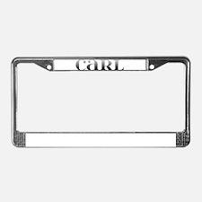 Carl Carved Metal License Plate Frame