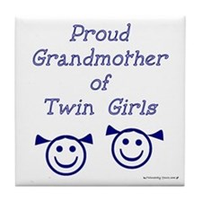 Proud Grandmother of Twin Girls - smiley Tile Coas