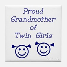Proud Grandmother of Twin Girls - smiley Tile Coas