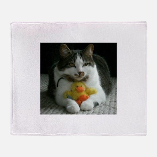 Throw Blanket with a kitten and a duck