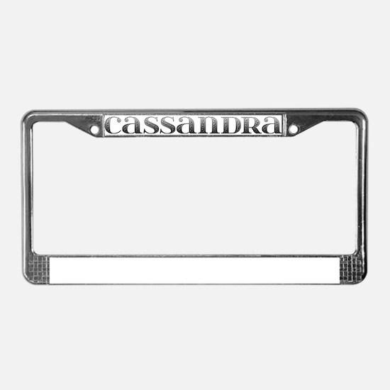 Cassandra Carved Metal License Plate Frame