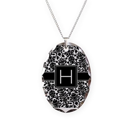 Monogram Letter H Gifts Necklace Oval Charm