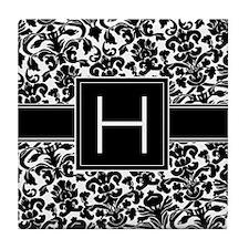 Monogram Letter H Gifts Tile Coaster