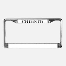 Christa Carved Metal License Plate Frame