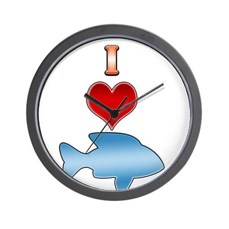I heart fish wall clock by greatgraphictees for Fish wall clock