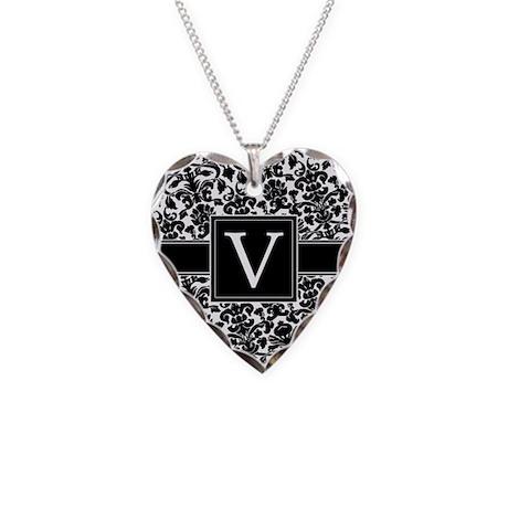 Monogram Letter V Gifts Necklace Heart Charm