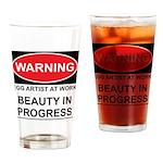 WARNING Artist @ Work Drinking Glass