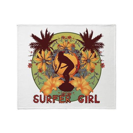 Surfer Girl Throw Blanket