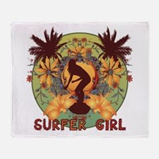 Surfer Girl Throw Blanket