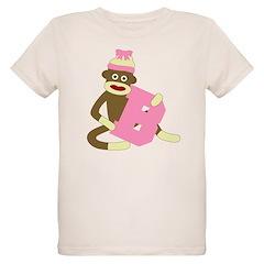 Sock Monkey Monogram Girl B T-Shirt