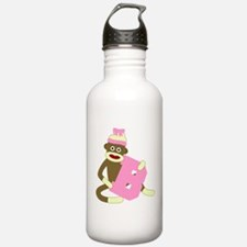 Sock Monkey Monogram Girl B Water Bottle
