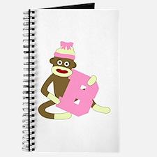 Sock Monkey Monogram Girl B Journal
