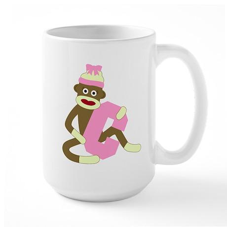 Sock Monkey Monogram Girl C Large Coffee Mug