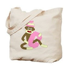 Sock Monkey Monogram Girl C Tote Bag