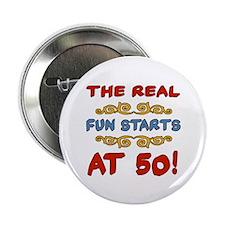"Real Fun 50th Birthday 2.25"" Button"