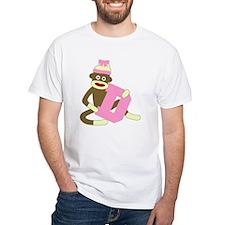 Sock Monkey Monogram Girl D Shirt