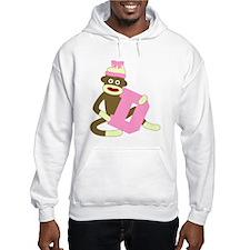 Sock Monkey Monogram Girl D Hoodie