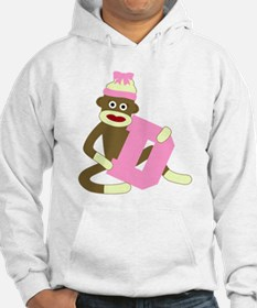 Sock Monkey Monogram Girl D Hoodie