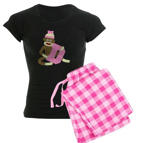 Sock Monkey Monogram Girl D Women's Dark Pajamas