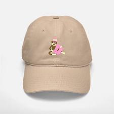 Sock Monkey Monogram Girl D Baseball Baseball Cap
