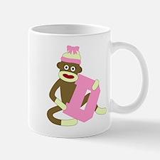 Sock Monkey Monogram Girl D Coffee Mug