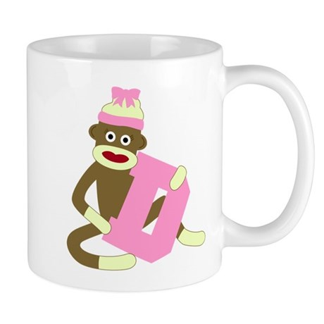 Sock Monkey Monogram Girl D Coffee Mug