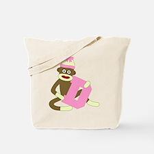 Sock Monkey Monogram Girl D Tote Bag