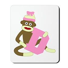 Sock Monkey Monogram Girl D Mousepad