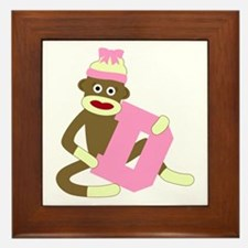 Sock Monkey Monogram Girl D Framed Tile