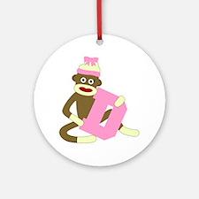 Sock Monkey Monogram Girl D Ornament (Round)