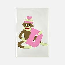 Sock Monkey Monogram Girl D Rectangle Magnet