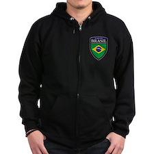 Brasil Flag Patch Zip Hoodie