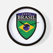 Brasil Flag Patch Wall Clock