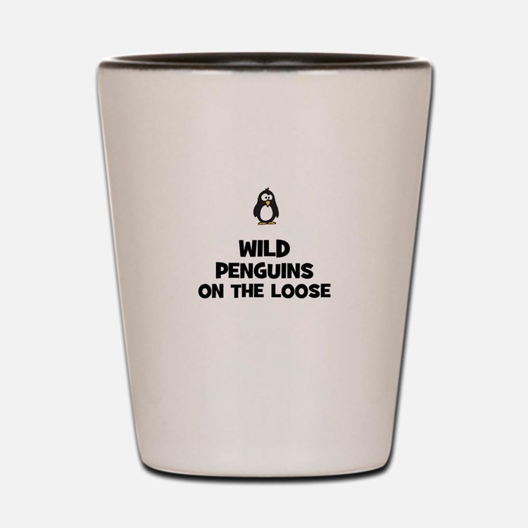 wild penguins on the loose Shot Glass