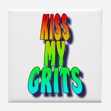 Kiss My Grits Tile Coaster