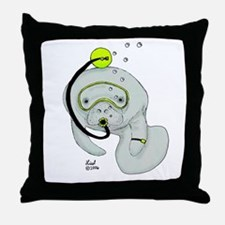 SCUBA Manatee Throw Pillow