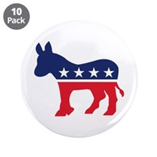 "Democrat Donkey 3.5"" Button (10 pack)"